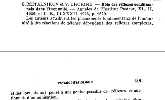 Metalnikov publ Pasteur 1926